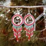 Gypsy chic earrings. Beadwoven Frin..