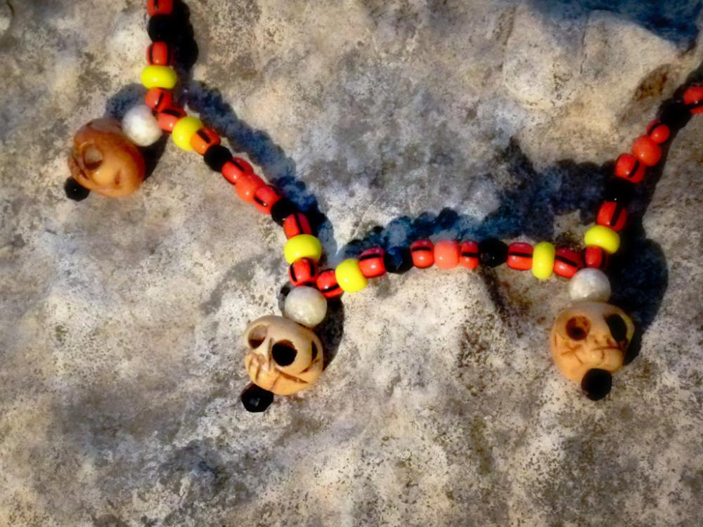 African Tribal skull necklace. Halloween Voodoo