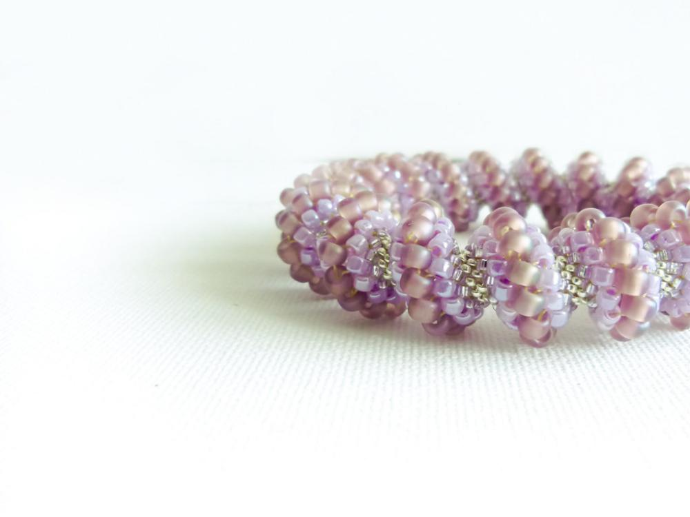 Honeysuckle Bridal beaded bangle bracelet. Rustic wedding Light purple silver