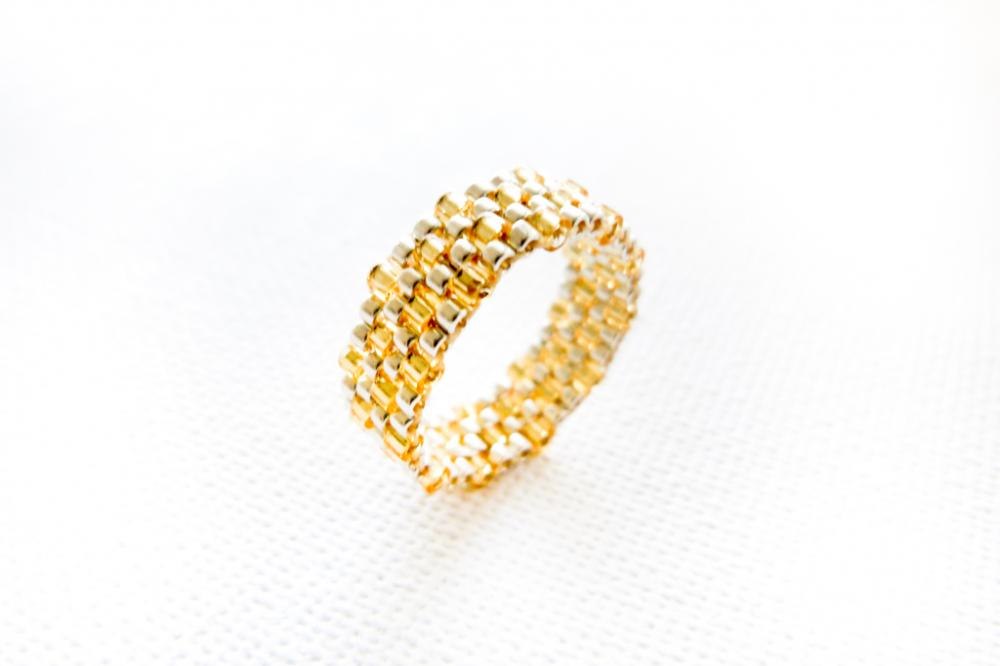 Custom Wedding silver golden textured delica band ring. Rustic Beadwoven fashion jewelry