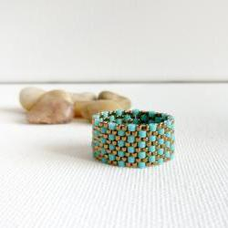 Turquoise bronze textured custom band ring.