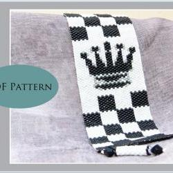 Black Queen Peyote Bracelet / Cuff - PDF Pattern for Personal Use Only