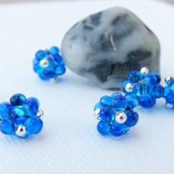 Lampwork style beaded beads Blue Silver dot (6) Jewelry Making Supplies