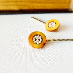 Unique fashion accessories Mustard yellow seed beaded hair bobby pins. Bird nest