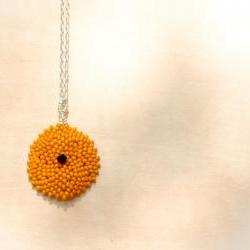 Minimalist Pumpkin Bead woven round pendant/ necklace. preppy style