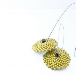 Olives Green holiday - long dangle beadwoven earrings. tbteam spteam stylistteam rusteam