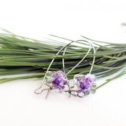 Amethyst minimalist earrings. Valentine jewelry. Spring fashion tbteam spteam