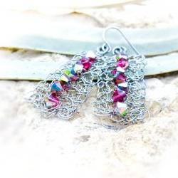 Bohemian wire crochet Swarovski crystal dangle earrings. Bridesmade gift idea.Spring fashion jewelry