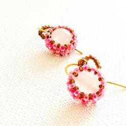 Bridesmade pink white gemstone beadwoven earrings.Wedding Spring fashion jewelry. tbteam