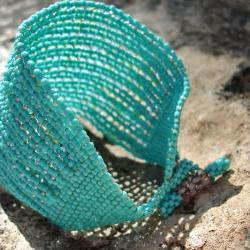 Sky Dreams Chunky Turquoise Bead woven Cuff / Bracelet. Fashion jewelry. Spring Summer Everyday tbteam. Made to order