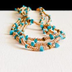 Turquoise jewelry Summer 2012 Boho chic golden multi layered romantic necklace/ wrap bracelet.